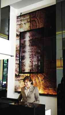 AN ART PIECE by Jaime Zobel de Ayala printed on glass at the reception area