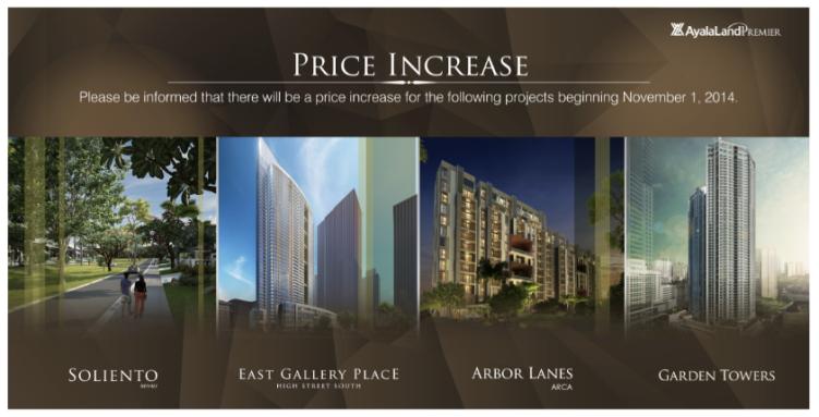 Ayala Land price increase