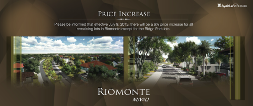 riomonte in nuvali price increase