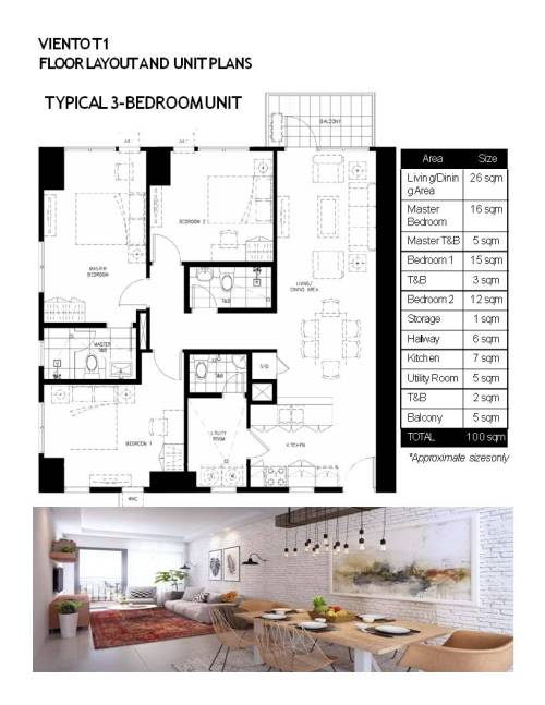 FLOOR LAYOUT AND UNIT PLANS TYPICAL 3 BR